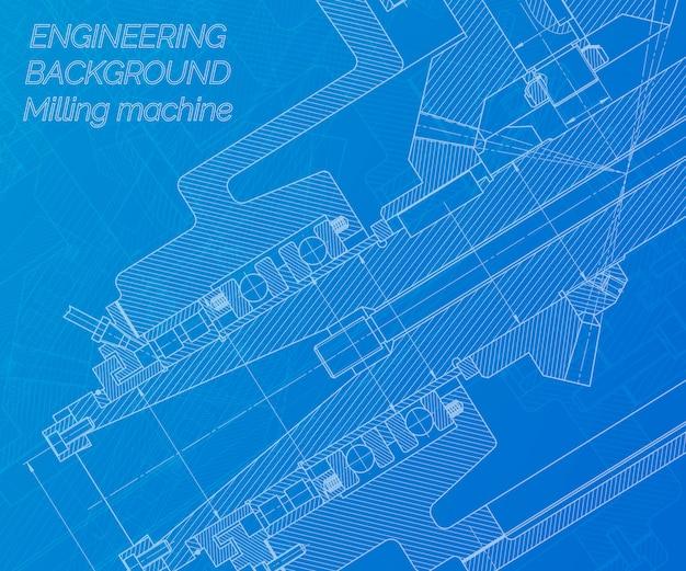Rysunki inżynierii mechanicznej na niebieskim tle. wrzeciono frezarki. projekt techniczny. Premium Wektorów