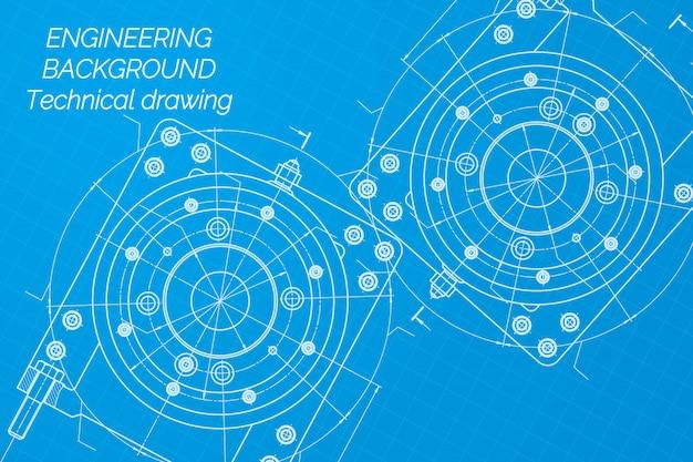 Rysunki inżynierii mechanicznej na niebieskim tle Premium Wektorów