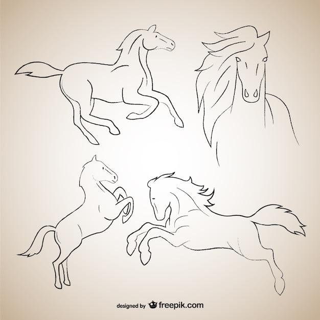 Rysunki Zarys Konia Darmowych Wektorów