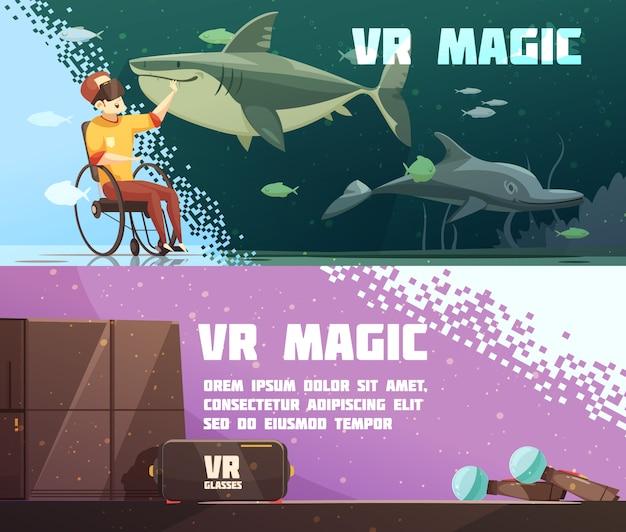 Rzeczywistość wirtualna doświadczenie poziome banery Darmowych Wektorów