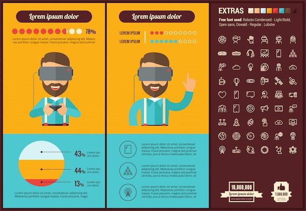 Rzeczywistość wirtualna płaska konstrukcja infographic szablon i ikony ustaw Premium Wektorów