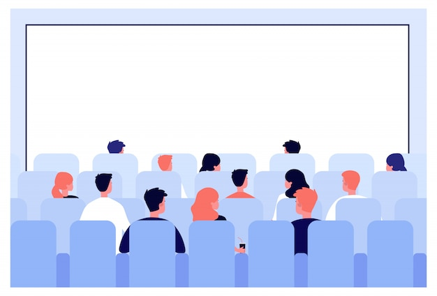 Rzędy Ludzi Siedzących Na Siedzeniach W Sali Kinowej Premium Wektorów