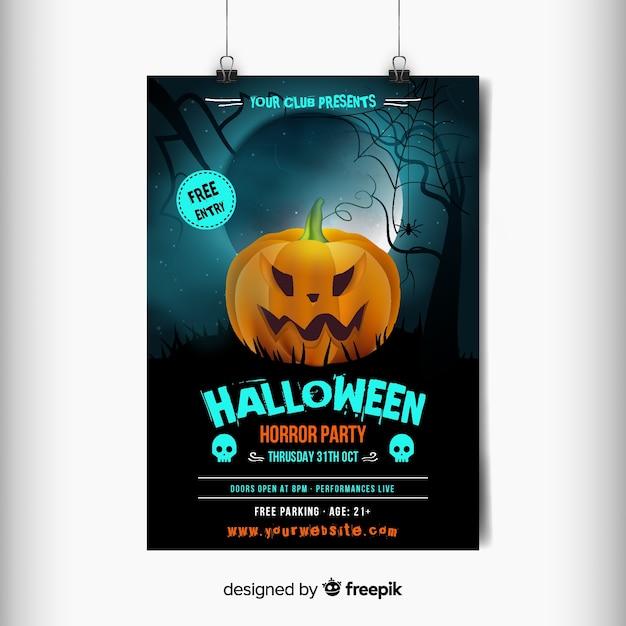 Rzeźbione Pomarańczowy Zły Dynia Halloween Party Plakat Darmowych Wektorów