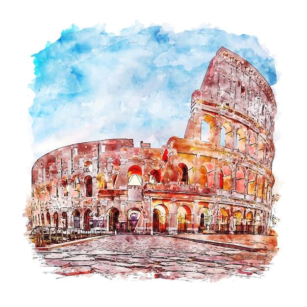 Rzym Włochy Szkic Akwarela Ręcznie Rysowane Ilustracja Premium Wektorów