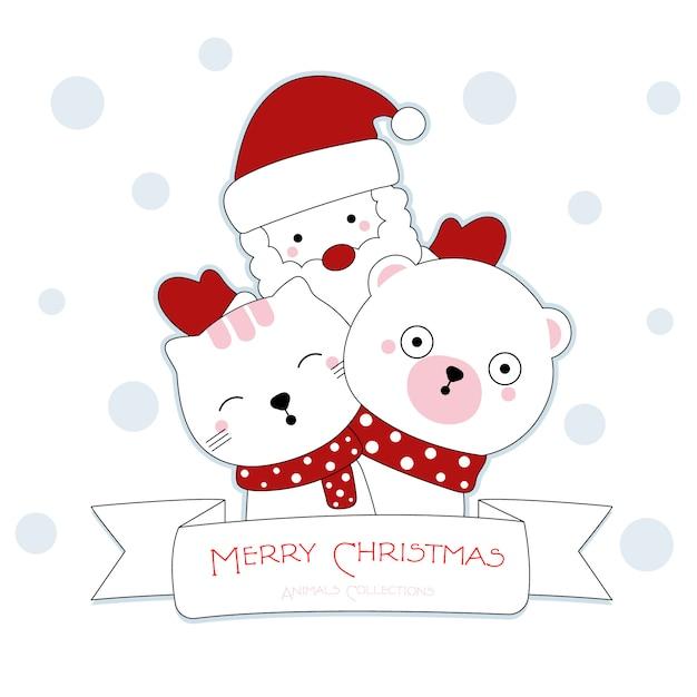 Słodkie Boże Narodzenie zwierząt ręcznie rysowane stylu Premium Wektorów