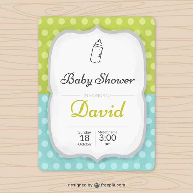 Słodkie Zaproszenie Na Baby Shower Wektor Darmowe Pobieranie
