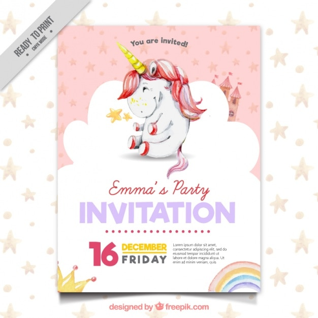 Słodkie zaproszenie strona z Jednorożca Darmowych Wektorów