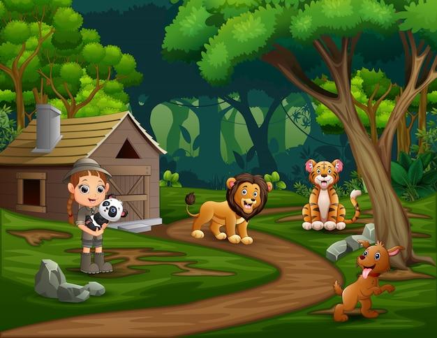 Safari Dziewczyna Ze Zwierzętami W Lesie Premium Wektorów