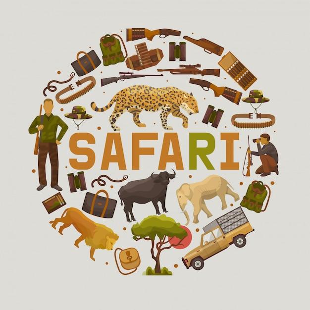 Safari Polowania Zestaw Ilustracji Wektorowych Okrągłe Wzory Premium Wektorów