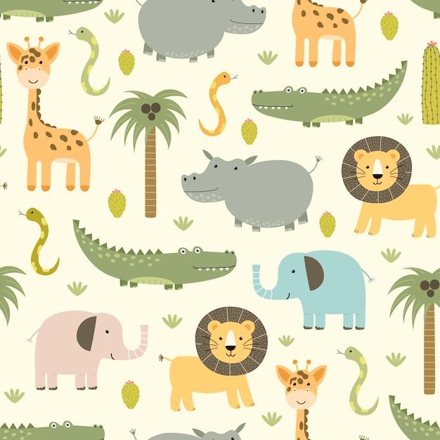 Safari Zwierząt Bezszwowy Wzór Z ślicznym Hipopotamem, Krokodylem, Lwem. Premium Wektorów