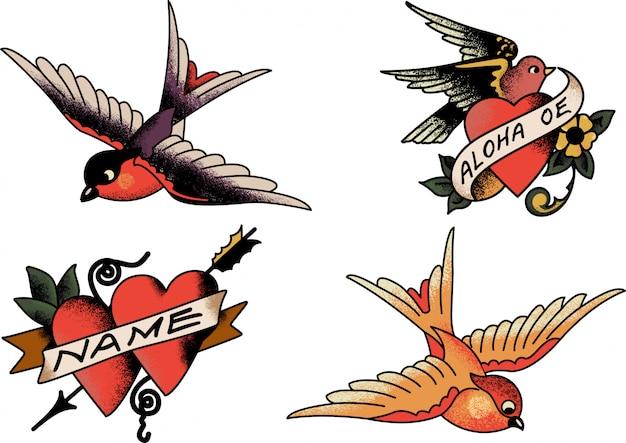 Sailor jerry hearts and birds Premium Wektorów