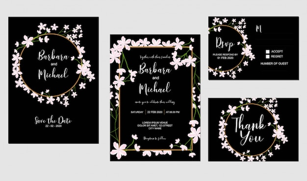 Sakura Kwiat Wiśni Zaproszenia ślubne Szablon Premium Wektorów