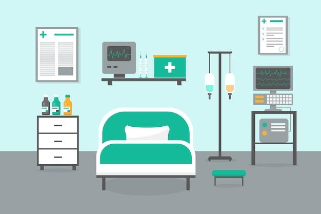 Sala Intensywnej Terapii Z łóżkiem, Oknem I Sprzętem Medycznym. Ilustracja Wnętrza Szpitala Izby Przyjęć. Premium Wektorów