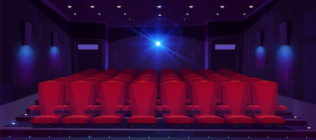 Sala Kinowa Z Rzędami Siedzeń Dla Publiczności I Projektorem Kinowym Darmowych Wektorów