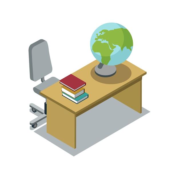 Sala lekcyjnej biurko z podręcznik isometric ilustracją Premium Wektorów