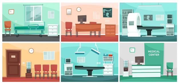 Sala Szpitalna Kreskówka. Medyczni Wnętrza, Doktorski Biuro, Operaci Klinika I Szpitale Opróżniają Poczekalni Wnętrza Ilustrację Premium Wektorów