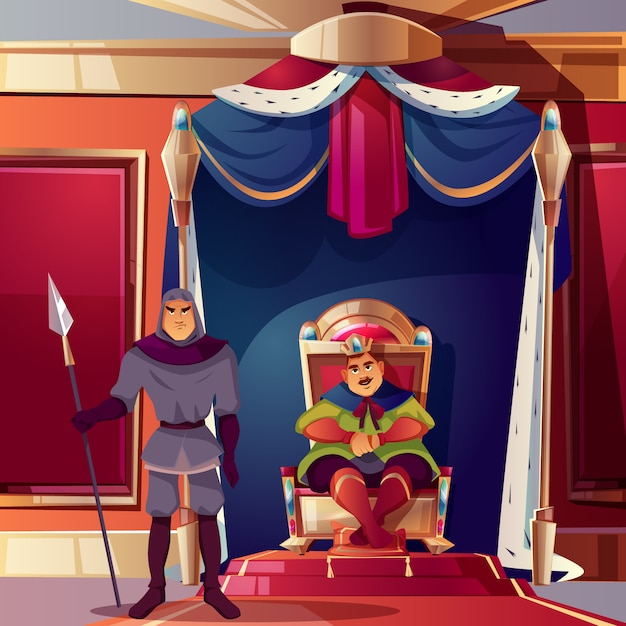 Sala tronowa z królem i jego surową strażą. Darmowych Wektorów
