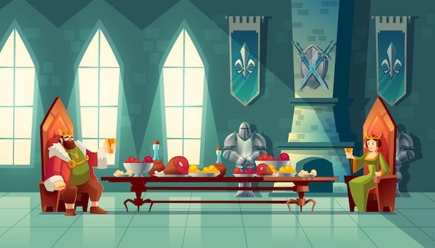 Sala zamkowa z królem i królową zjeść obiad. stolik z jedzeniem, przyjęcie bankietowe Darmowych Wektorów