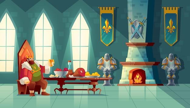 Sala zamkowa z królem zjada obiad. stolik z jedzeniem, przyjęcie bankietowe. Darmowych Wektorów