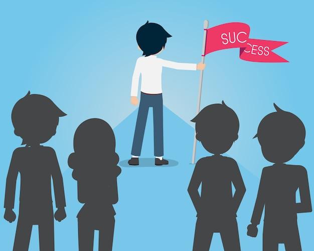 Salary Man Są Dobrymi Liderami Z Flagą Sukcesu Przed Wyznawcami Premium Wektorów