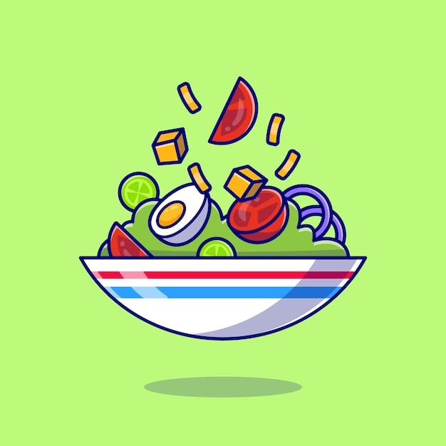 Sałatka Warzywna Z Jajkiem Gotowane W Miskę Kreskówki Darmowych Wektorów