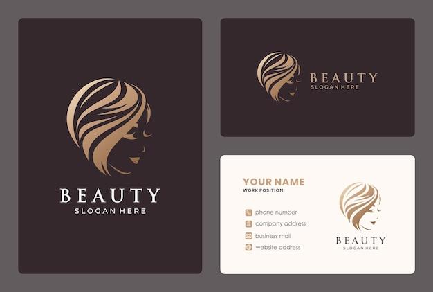 Salon Fryzjerski, Kobieta, Projektowanie Logo Salonu Piękności Z Szablonu Wizytówki. Premium Wektorów