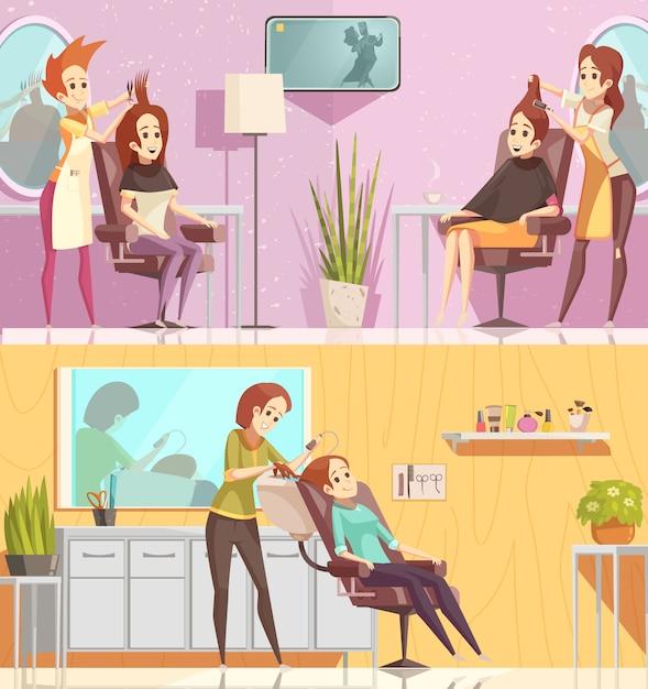 Salon Fryzjerski Usługi 2 Retro Kreskówki Poziome Bannery Zestaw Z Stylizacji Cięcia Kolorowanie Zabiegi Na Białym Tle Darmowych Wektorów