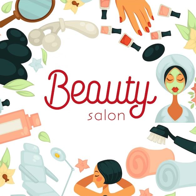 Salon kosmetyczny promocyjna ilustracja z wyposażeniem dla procedur Premium Wektorów