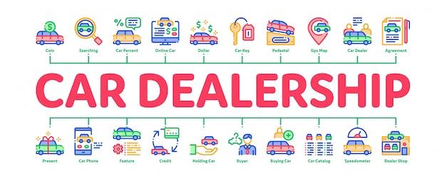 Salon Samochodowy Sklep Minimalny Plansza Transparent Premium Wektorów
