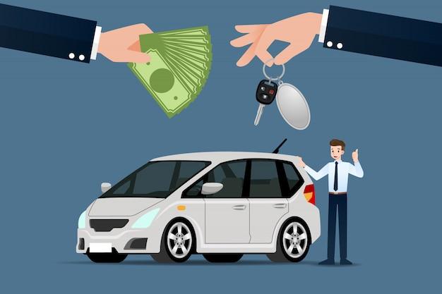 Salon Samochodowy Sprzedaje Samochód. Premium Wektorów