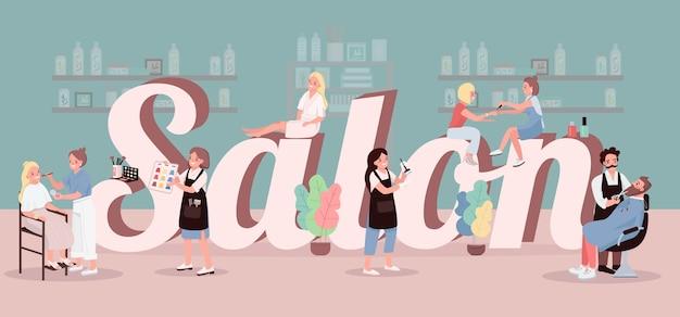 Salon Słowo Koncepcje Kolor Transparent. Leczenie W Centrum Spa Farbowanie Włosów. Nakładanie Makijażu. Typografia Z Małymi Postaciami Z Kreskówek. Piękno Salonu Kreatywnie Ilustracja Na Zieleni Premium Wektorów