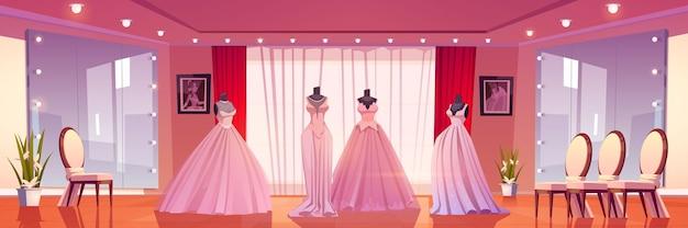 Salon ślubny Z Sukniami ślubnymi Na Manekinach I Dużymi Lustrami Z Oświetleniem. Darmowych Wektorów