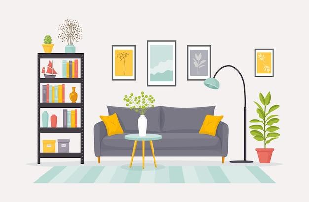Salon Z Ilustracją Ozdobną Kanapą Premium Wektorów
