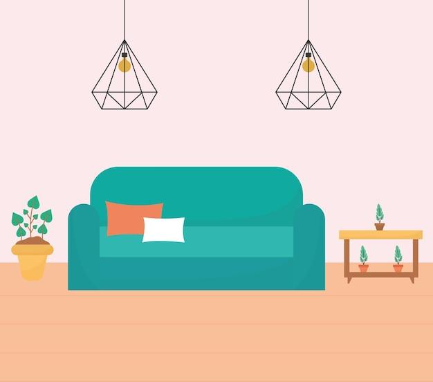 Salon Z Jedną Kanapą, Stolikami I Roślinami Plus żyrandole Premium Wektorów