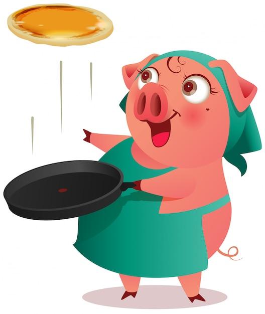 Samica świni w fartuchu gotuje naleśniki na patelni Premium Wektorów