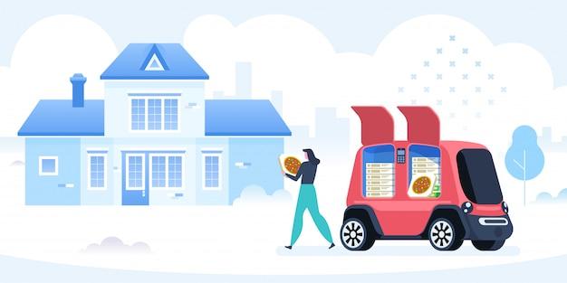 Samobieżny Pojazd Do Dostarczania Pizzy Premium Wektorów