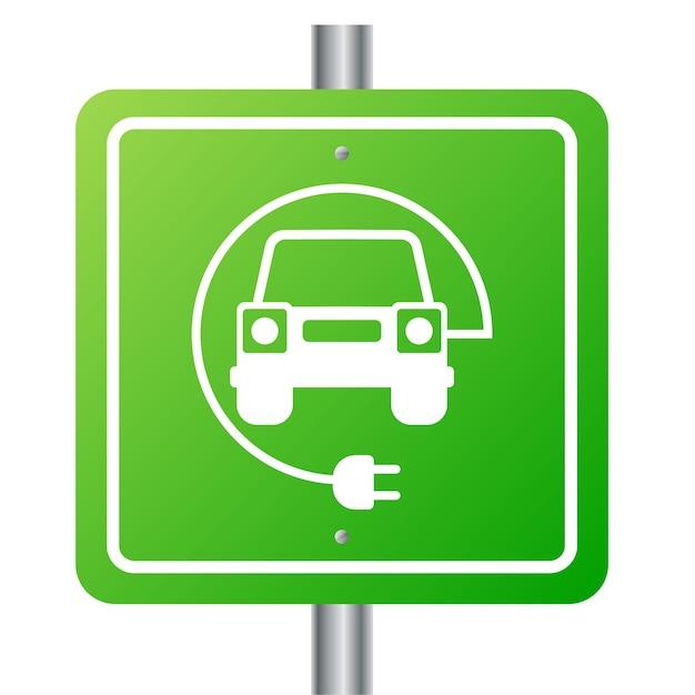 Samochód Elektryczny I Symbol Stacji ładowania Elektrycznego Premium Wektorów