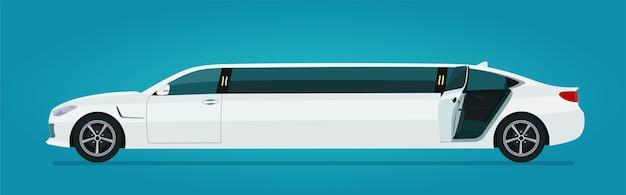 Samochód Limuzyna Z Otwartymi Tylnymi Drzwiami Na Białym Tle Widok Z Boku Premium Wektorów