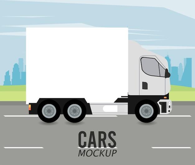 Samochód Makieta Ciężarówki Na Drodze Premium Wektorów