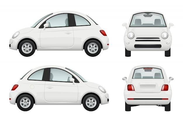 Samochód osobowy. inny widok realistycznych ilustracji samochodów Premium Wektorów