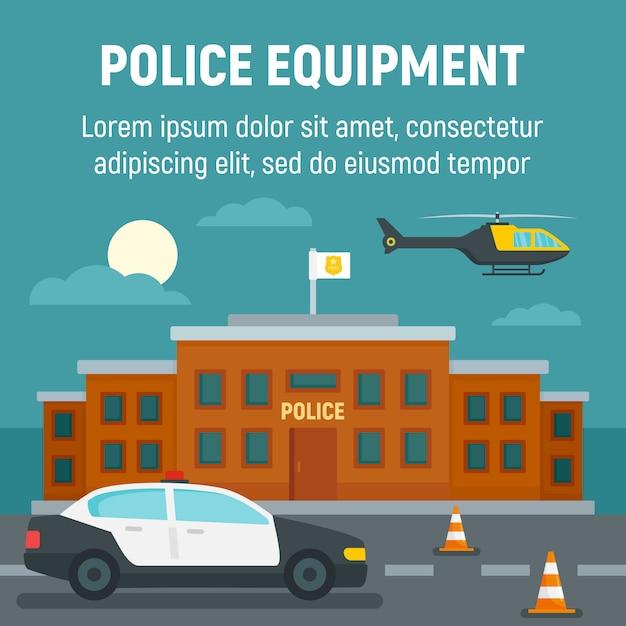 Samochód Policyjny, Helikopter, Szablon Budynku Biurowego, Płaski Premium Wektorów