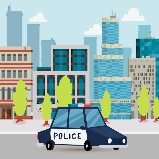 Samochód Policyjny I Patrol Policyjny Na Drodze W Mieście Z Miastową Tło Kreskówki Illlustration. Premium Wektorów