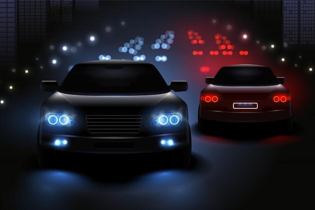 Samochód Prowadzący Zaświeca Realistycznego Skład Z Widokiem Nocy Drogi I Sylwetkami Samochodów światła Ruchu Ilustracyjni Darmowych Wektorów