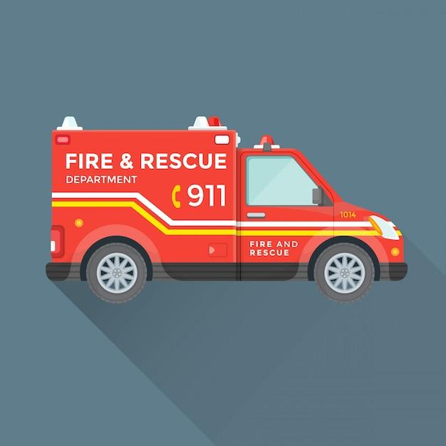 Samochód Ratowniczy Straży Pożarnej Premium Wektorów