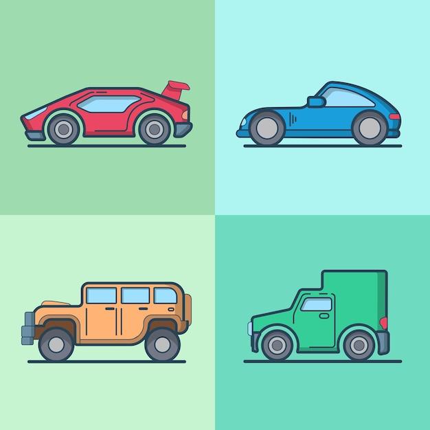 Samochód Sportowy Samochód Supersamochód Roadster Jeep Van Fajny Zestaw Transportowy Darmowych Wektorów