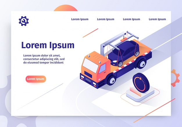 Samochód tow company online service vector web banner Premium Wektorów