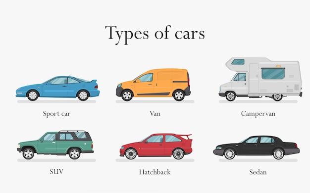 Samochód . Zestaw Samochodów. Płaski Styl. Widok Z Boku, Profil. Rodzaje Samochodów Premium Wektorów