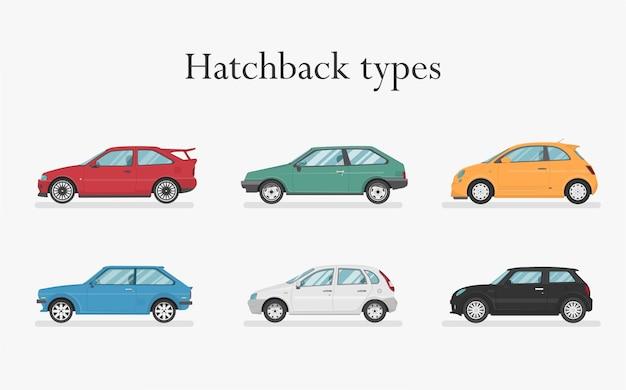 Samochód . Zestaw Samochodów. Płaski Styl. Widok Z Boku, Profil. Typy Hatchbacków Premium Wektorów