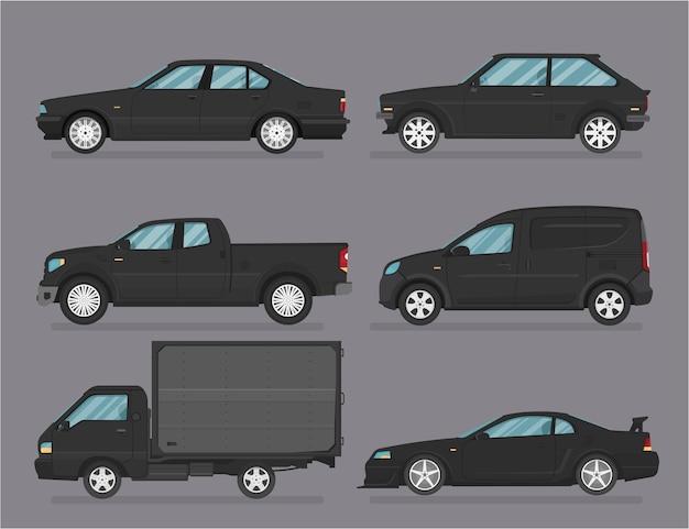 Samochód . Zestaw Samochodów. Płaski Styl. Widok Z Boku, Profil. Premium Wektorów