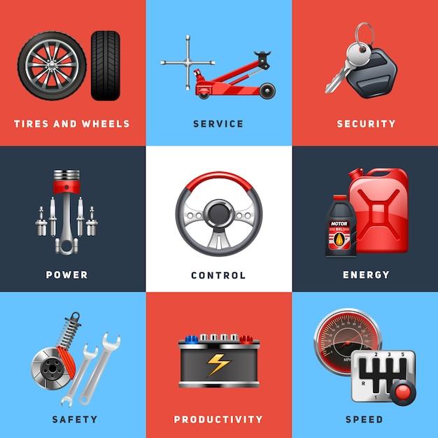 Samochodowa auto usługa kontrola bezpieczeństwa dla ciężarówek i ładunków pojazdów wyposażenia płaskich ikon ustawia abstrakcjonistyczną odosobnioną wektorową ilustrację Darmowych Wektorów